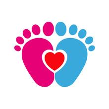 Icono Plano Pies De Bebé Azul Y Rosa Con Corazón Rojo En Fondo Blanco