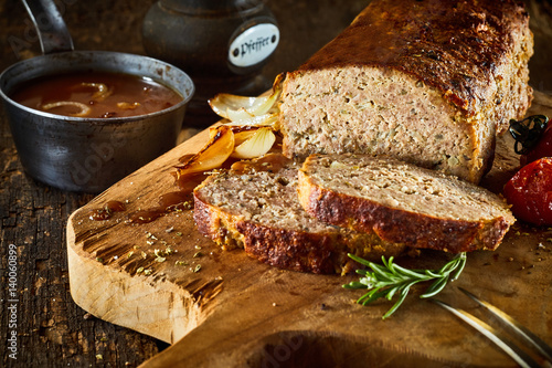 Minced meat loaf on cutting board Wallpaper Mural