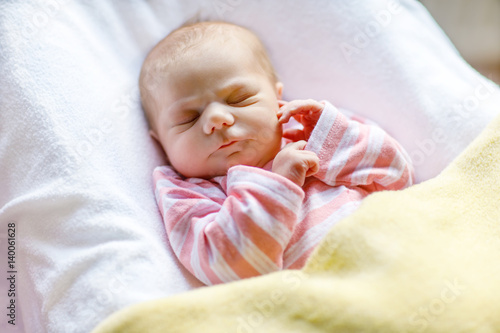 Portrait Of Cute Adorable Newborn Baby Girl Sleeping Buy This Stock Photo And Explore Similar Images At Adobe Stock Adobe Stock