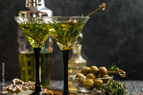 Two fresh green cocktails Canvas Print