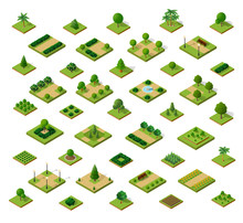 Set Of 3D Isometric Urban Parks. City Natural Ecological Landscapes Of Town Infrastructure.