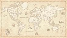 Vintage Illustrated World Map
