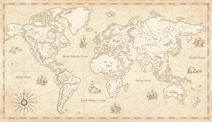 Fototapeta na wymiar Vintage Illustrated World Map