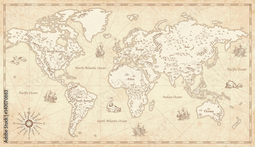 Foto op Canvas Wereldkaart Vintage Illustrated World Map