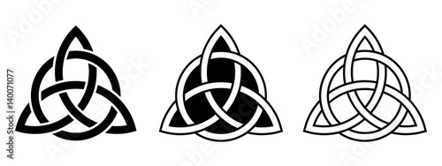 Fotografía  Vector set of three Celtic trinity knots isolated on a white background