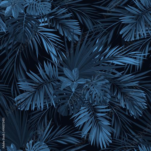 Dark tropical background with jungle plants Fototapeta