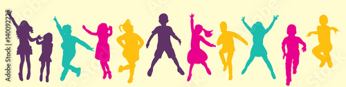 Photo  Vector, isolated, silhouette children jumping, multicolored silhouettes, childho