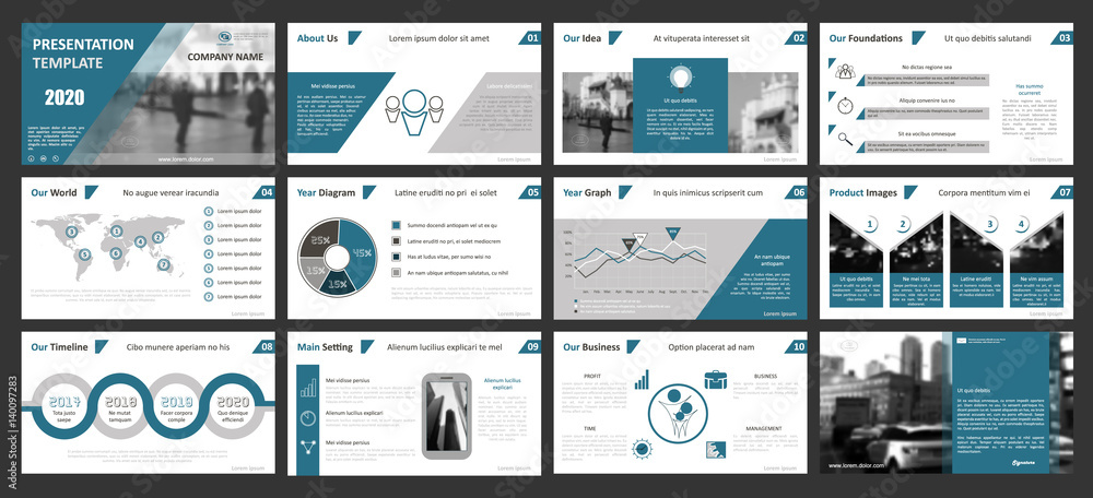 Fototapeta Creative set of abstract infographic elements. Modern presentation template with title sheet. Brochure design in gray, dark blue, white colors. Vector illustration. City street image. Urban