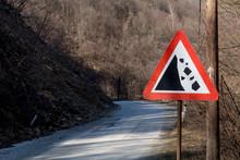 Landslide Road Sign In The Mou...