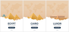 Egypt. Time To Travel. Set Of Travel Posters. Vector Flat Illustration.