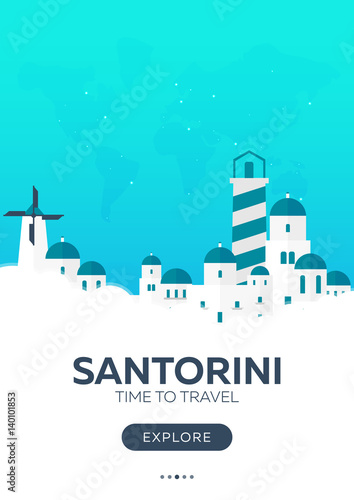 Wall Murals Green coral Greece. Santorini. Time to travel. Travel poster. Vector flat illustration.