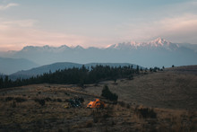 Wild Camp On Dusk Light In The Andes
