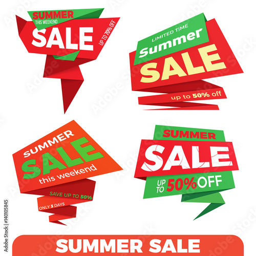 Summer sale  Sale label price tag banner badge template sticker