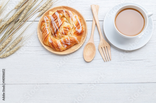 Fotografia, Obraz  Top view danish pastries on white wooden table