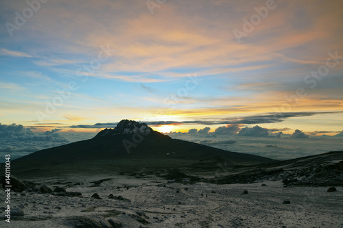 Sunrise over Mawenzi from the slopes of Kilimanjaro (5.895 m) - Tanzania
