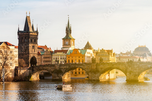 Poster Praag View of Charles Bridge (Karluv most) and Old Town Bridge Tower, Prague, Czechia