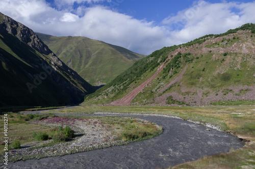 Deurstickers Asia land Terek river in Thurso mountain valley. Mtskheta-Mtianeti Region, Georgia