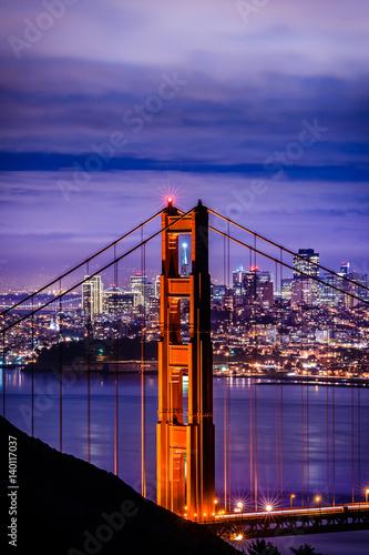 Vászonkép  Golden Gate Bridge, San Francisco at night, USA