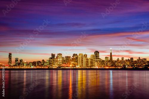 San Francisco skyline at sunset, California