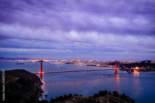 Fényképezés  Sunset view of Golden Gate Bridge from Marin Headlands, Golden Gate National Rec
