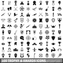 100 Trophy And Awards Icons Set In Simple Style