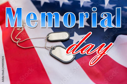 Poster Equestrian memorial day words over american flag and dog tags