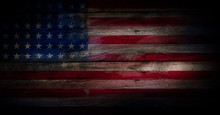 USA Flag On A Wood Surface