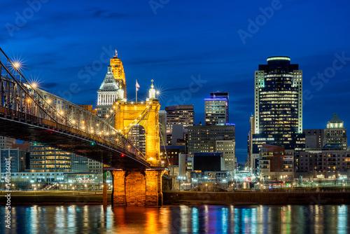 Twilight skyline, Cincinnati Ohio