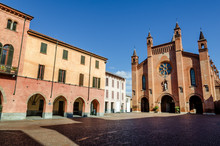 Piazza Risorgimento, Main Square Of Alba (Piedmont, Italy) With Saint Lawrence Cathedral