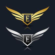 Wings Shield Letter E Logo Template