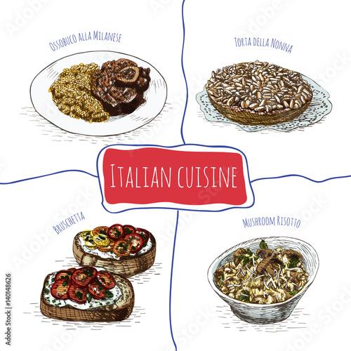 Photo  Italian menu colorful illustration.