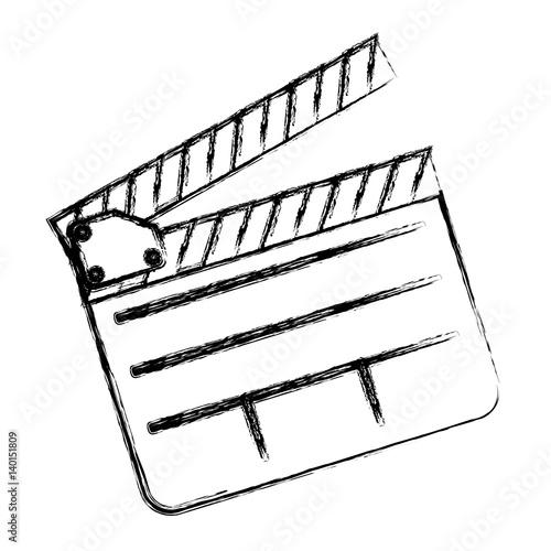 monochrome sketch sticker with clapperboard cinema vector illustration Canvas Print