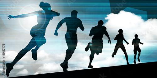 Athletes Running Canvas Print