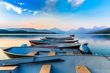 Boats At Dock On Peaceful Lake...
