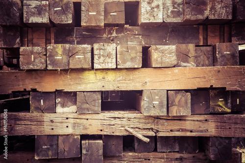 Fotomural  Stacked wood railroad ties vintage