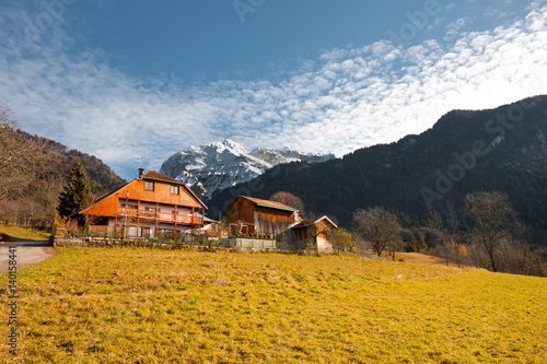 Fotografie, Obraz  French Alps Mountain and Traditional Wooden Chalet near Annecy, France