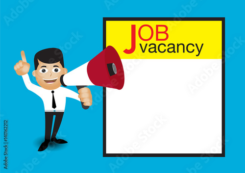 man holding megaphone job vacancy announcement template buy this
