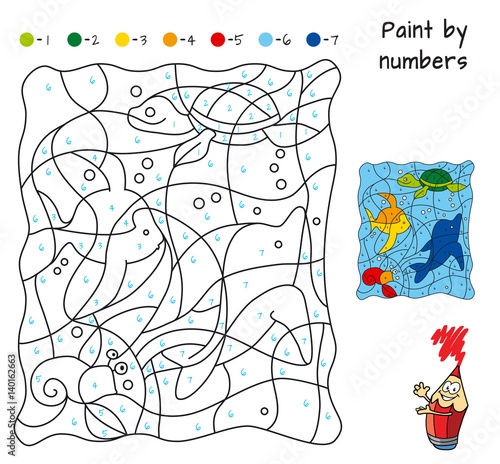 marine life paint by numbers educational puzzle game for children coloring book cartoon. Black Bedroom Furniture Sets. Home Design Ideas