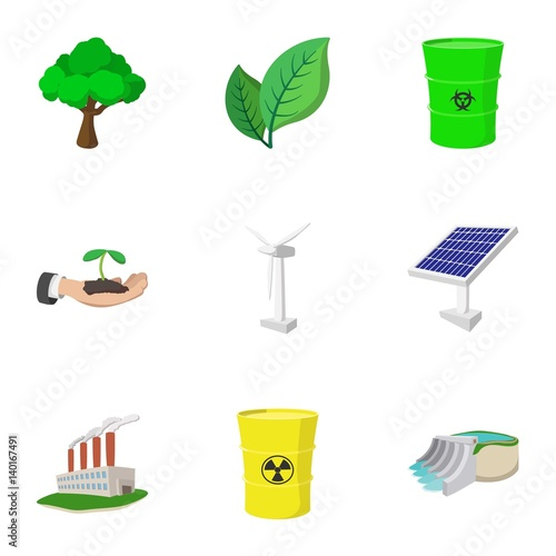 Types of energy icons set, cartoon style Wallpaper Mural