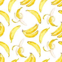 Watercolor Vector Banana Pattern