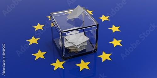 Ballot box on a european union flag. 3d illustration Canvas