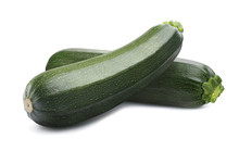 Green Whole Zucchini Isolated On White Background