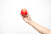 Red Apple In Hand Isolate On White Background.