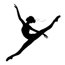Silhouette Of A Dancing Ballerina On A White Background, Vector. Ballet, Dance,twine.