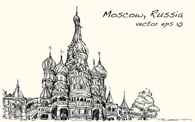 Landscape sketch, Moscow, Russia, Red square, free hand drawing illustration vector