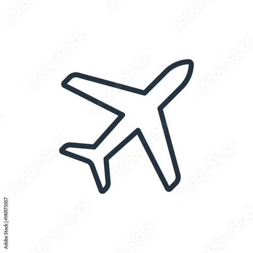 plane line icon on white background Wallpaper Mural