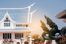 Thai Art Guardian Serpent Decorated In  Wat Pa Phu Kon ,Thailand.