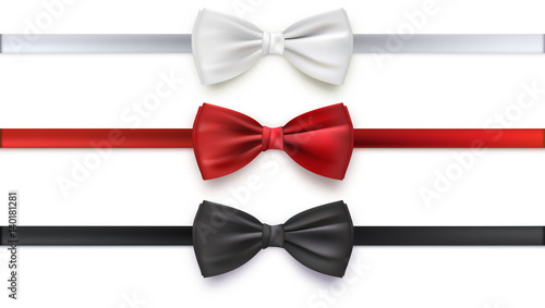Valokuva Realistic white, black and red bow tie, vector illustration, isolated on white background