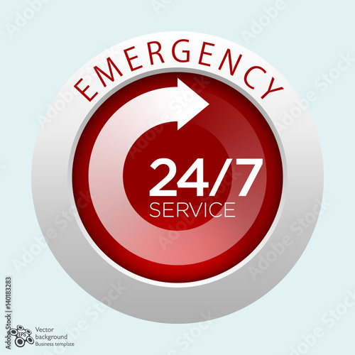 Fotografiet  Emergency Service, 24/7, 365 #Vector Graphics