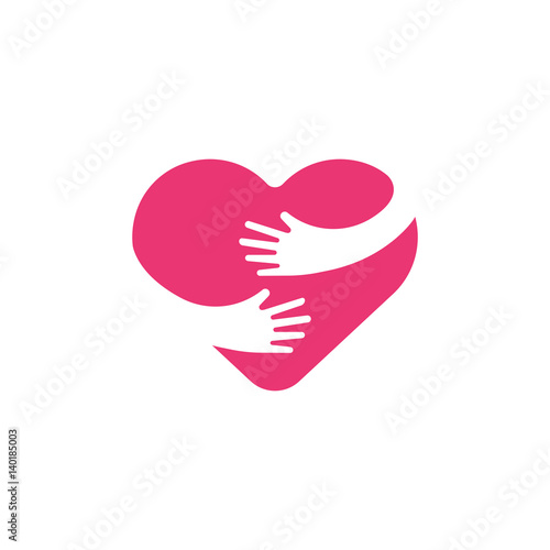 Hugging heart symbol, hug yourself , love yourself Fototapeta